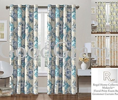 2-Pack-GoodGram-Decor-Energy-Efficient-Floral-Thermal-Foamback-Grommet-Curtains-Assorted-Colors-0
