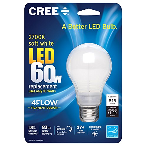 Cree 60W Equivalent 2700K A19, Soft White LED Light Bulb with 4Flow Filament Design