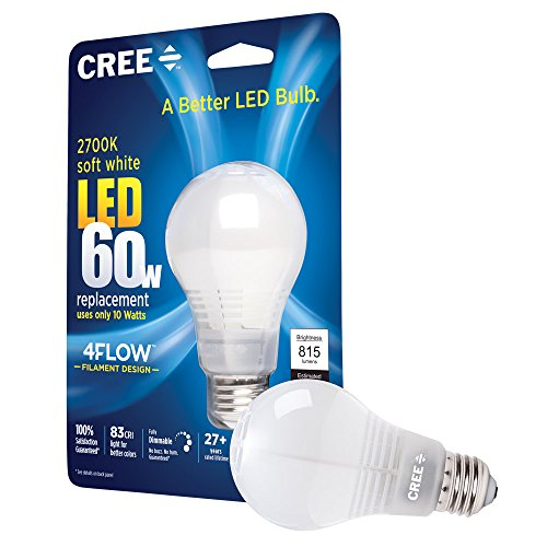 Cree 60W Equivalent 2700K A19, Soft White LED Light Bulb with 4-Flow Filament Design