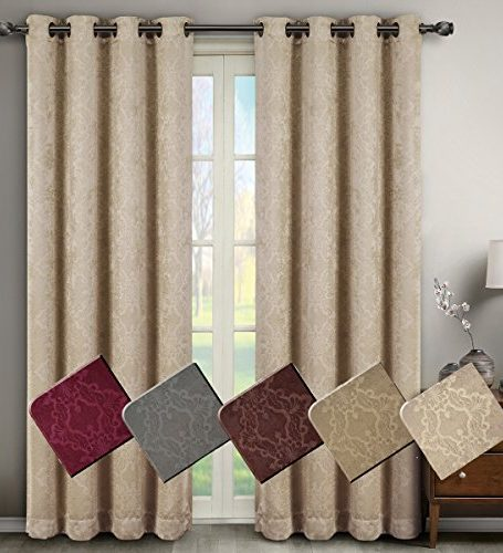 Deluxe-Energy-Efficient-Room-Darkening-Pair-of-Two-Top-Grommet-Blackout-Weave-Embossed-Curtain-Panel-Triple-Pass-Foam-Back-Layer-Elegant-and-Contemporary-Bella-Blackout-Panel-0