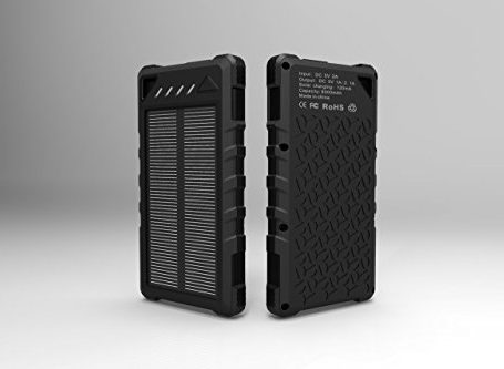 Solar-Phone-Charger-for-Cell-Phone-External-Power-Battery-Bank-Dual-USB-Portable-Backup-Best-Solar-Panel-for-iPhone-Android-Tablet-GPS-Light-Weight-Waterproof-Outdoor-LED-Flashlight-Black-0